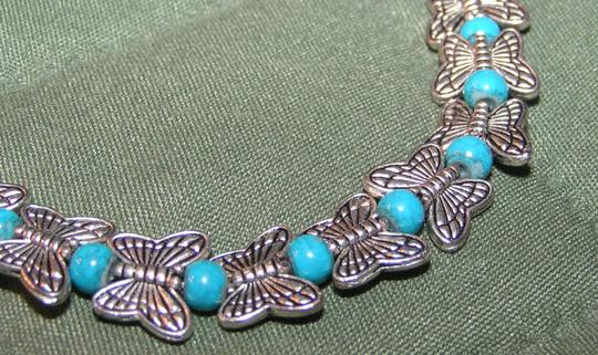 Unknown Tibet Silver Turquoise Bead Butterfly Bracelet