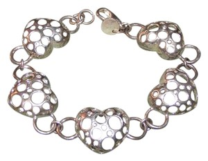 Silver Puffed Carved Heart Bracelet
