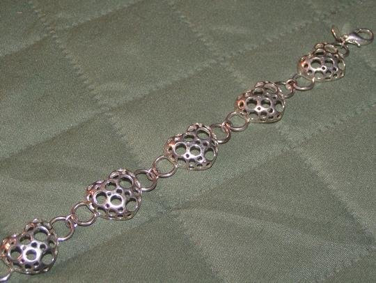Other BOGO Free Silver Puffed Carved Heart Bracelet Free Shipping