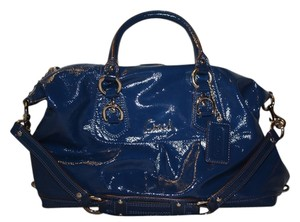 Coach Leather Patent Leather Satchel in Blue
