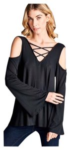 Other Cold Lace Up Boho Loose Women Top Black