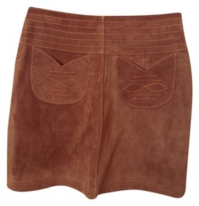 Wilsons Leather Vintage Suede Durable Mini Skirt tan