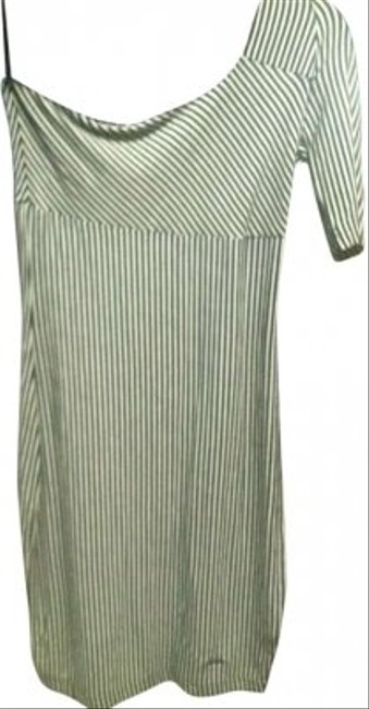 Guess short dress White with Black Stripes One Shoulder And Unique on Tradesy