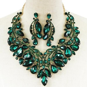 Teal Statement Crystal Necklace Set