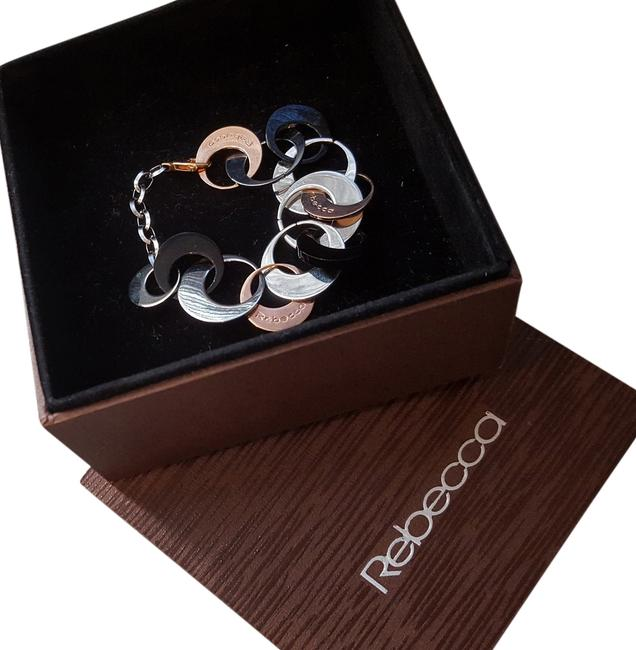 "Rose Gold/Steel/Black Oynx ""Griffe Half Moon"" Gold/Steel/Black Oval Bracelet Image 1"