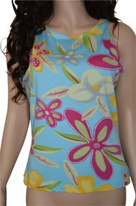 Cache Floral Casual Career Top Blue with pink, yellow, white flowers.