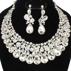 Clear Crystal Statement And Earring Necklace Set
