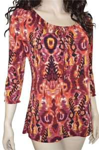 Carole Little Abstract Bohemian Boho Career Top Multi Colored