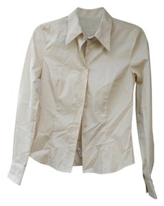 United Colors of Benetton Stretch Champagne Button Down Button Down Shirt Champagne/Light Yellow/Tan