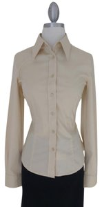 United Colors of Benetton Stretch Button Down Shirt Champagne/Light Yellow/Tan