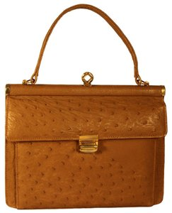 Corbeau Curio Ostrich Leather Vintage Perfect Mint Tan Tote in Camel