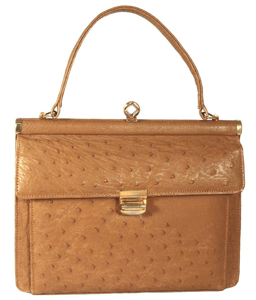 048acb0c5300 Corbeau Curio Ostrich Leather Vintage Tan Tote in Camel Image 0 ...