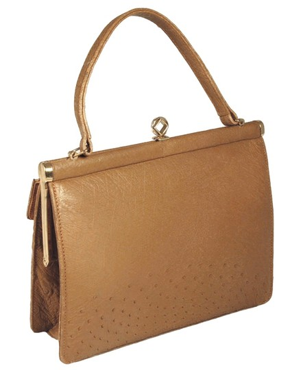 Corbeau Curio Ostrich Leather Vintage Tan Tote in Camel