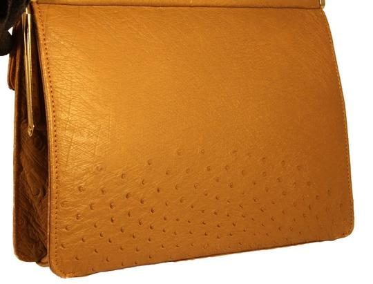 Corbeau Curio Ostrich Leather Purse Vintage Perfect Mint Tan Tote in Camel