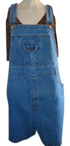 Other Women Plus-size Denim Jeans Overalls Shortalls Shorts blue