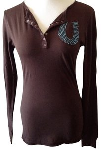 Tankh Graphic Jeweled T Shirt Lucky Horseshoe Espresso/Multi-Jewel