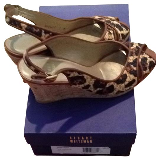 Stuart Weitzman Brown Leopard Wedges