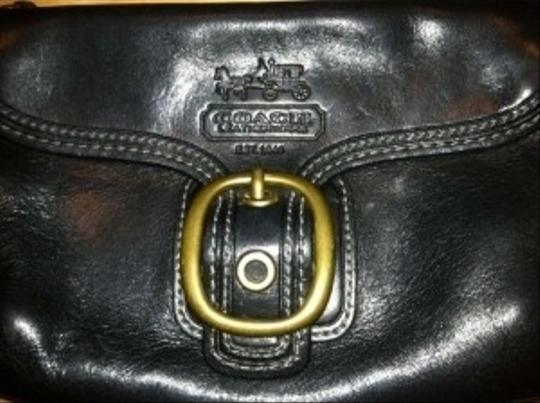 Coach Leather Front Pocket Wristlet in Black