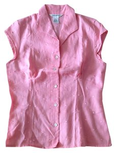 Richard Malcolm 100% Linen Irish Linen Top Pink peony