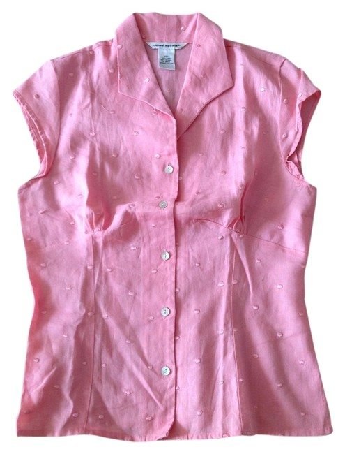 Preload https://img-static.tradesy.com/item/1329406/pink-peony-irish-linen-button-front-cap-sleeve-small-blouse-size-4-s-0-0-650-650.jpg