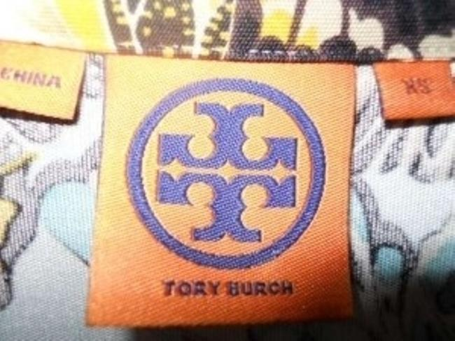 Tory Burch Button Amandine Silk Jersey Gold Buttons Logo Logo Buttons Insignia Floral Colorful Top Butterfly