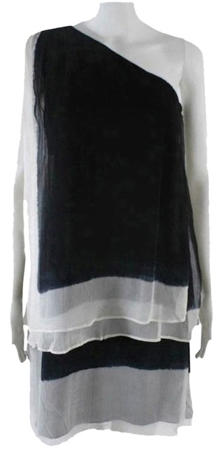 Item - Black White Gwen Stefani Tiered Chiffon Mini Night Out Dress Size 2 (XS)