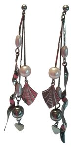 NEW Sterling Silver And White Beaded Pierced Drop Dangle Earrings