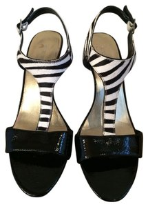 Nine West Zebra Stripe Black and White Sandals