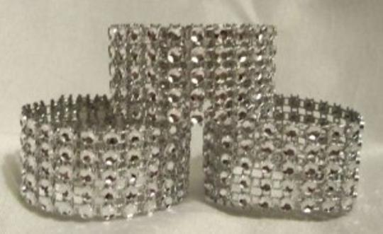 Silver 300 Rhinestone Bling Wedding Napkin Rings Or Chair Sash Decoration 5 Rows