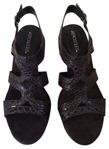 Aerosoles Leather Black Snake Print Sandals
