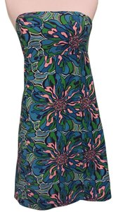 Lilly Pulitzer short dress Blue, Green and Pink Strapless on Tradesy
