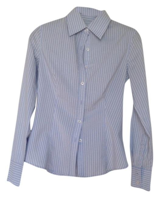 Item - Light Blue White Stripe Blouse Button-down Top Size 2 (XS)