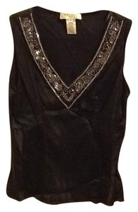Nine West Petites Silk Beeding Tank Comfortable Tapered Loose Fitted Office Black Halter Top