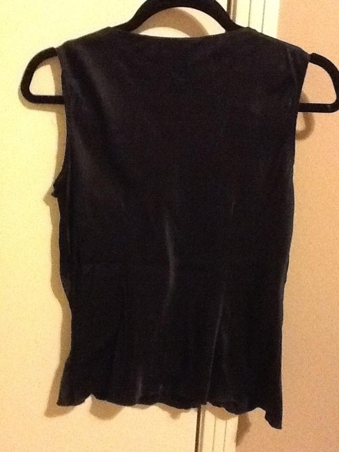 Nine West Petites Silk Beeding Comfortable Tapered Loose Fitted Office Black Halter Top