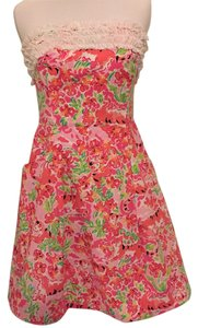 Lilly Pulitzer short dress Bright Pink and Green Strapless on Tradesy