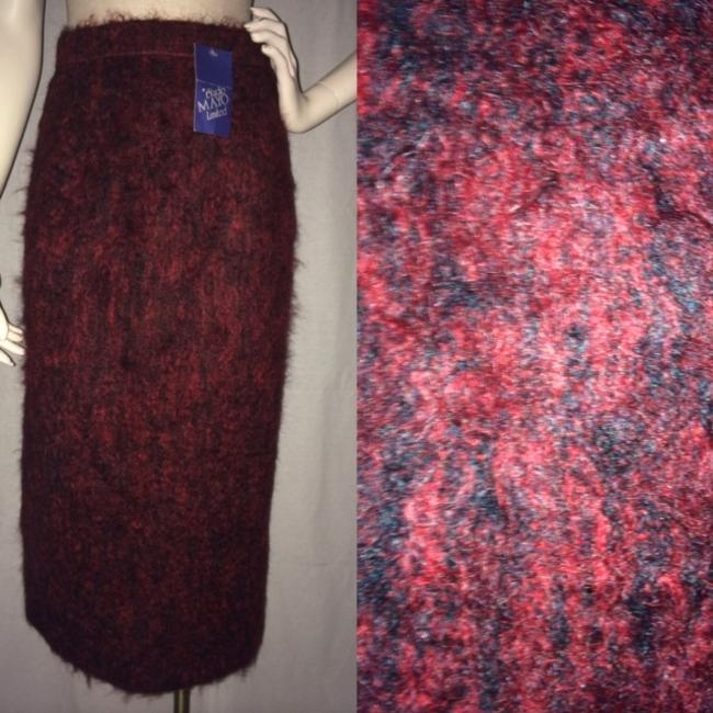 Studio Mayo Ltd. New Vintage Furry Mohair Maxi Skirt Red and black