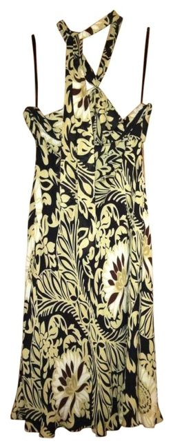 Ann Taylor short dress Black and beige print Halter Floral on Tradesy