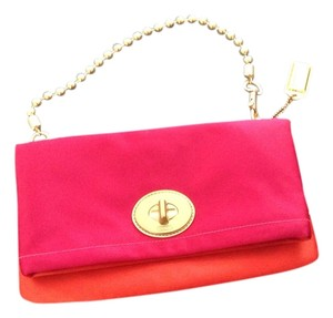 Coach Purse Satin Evening Pink Orange Clutch