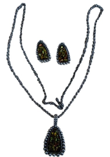 unknown Multi Colored Glass Pendant Necklace & Matching Pierced Earrings in Silver