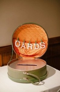 Green and Orange Cards Box - Vintage Round Suitcase Reception Decoration