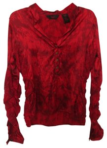 Seven7 Button Down Silk Lace Longsleeve Gold Hardware Top Red