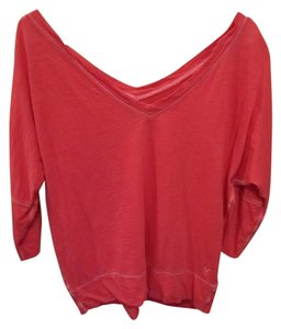 American Eagle Outfitters Medium Deep V Neck 3/4 T Shirt Red