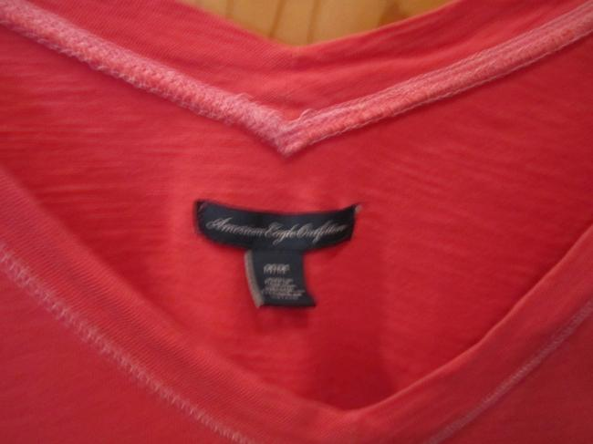 American Eagle Outfitters Medium Deep V Neck 3/4 Sleeve Embroidered Logo M T Shirt Red