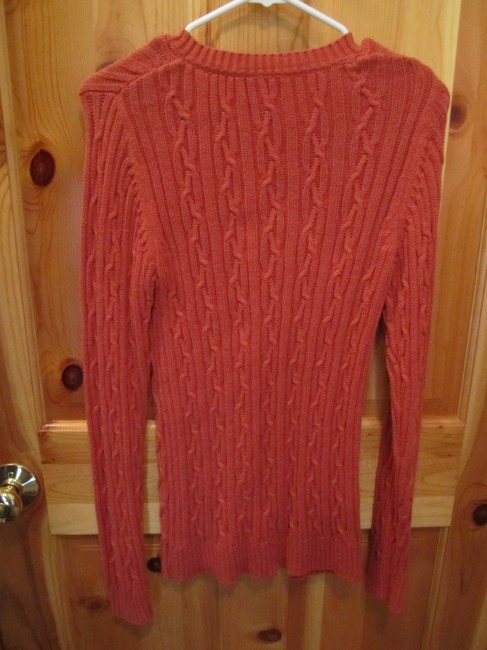 Croft & Barrow Small Long Sleeve Cable V Neck Burnt Sweater