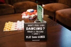 Black Chalkboard Games Area Sign Reception Decoration