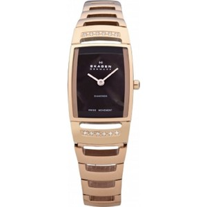 Skagen Denmark Magnificent Ladies Gold & Dimonds Bracelet Watch