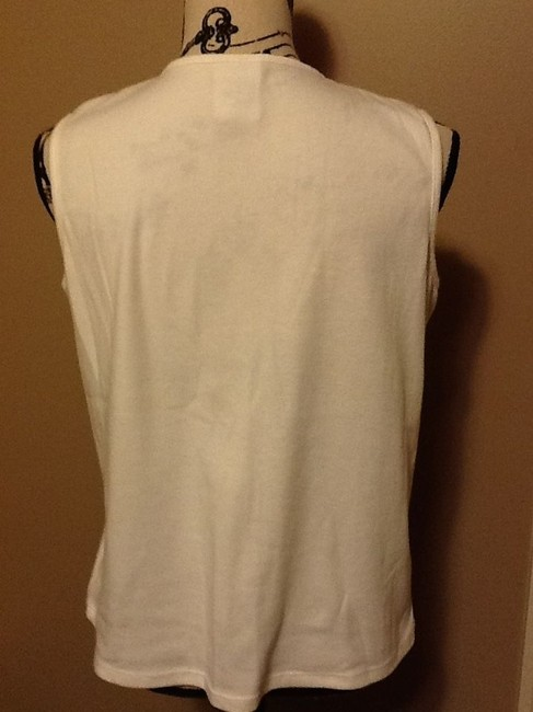 Allison Dale Petites Brown Beeds Comfortable Office Sleeveless Soft Top Creme