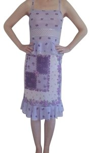 Roman's II Set Matching Ruffle Floral Skirt Lavender with Violet, Purple, Olive, and White
