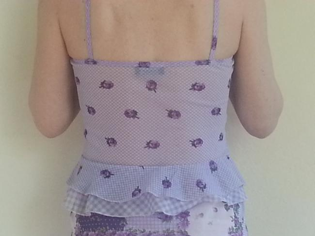 Roman's II Set Matching Ruffle Floral Sleeveless Skirt Lavender with Violet, Purple, Olive, and White