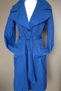 Tahari Belted Fitted Wide Collar Raincoat
